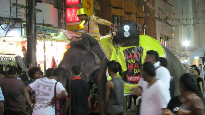 Nightlife Hatyai style, and an elephant wanders by