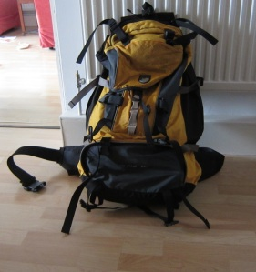 My trusty old backpack, eagerly waiting for her next journey