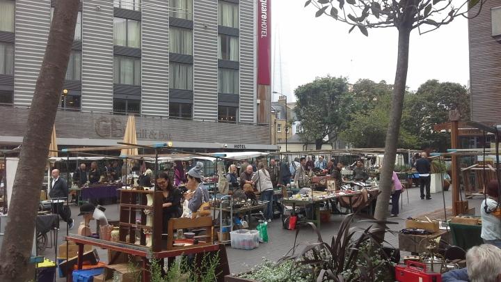 Bermondsey Friday antique market in Bermondsey Square, London