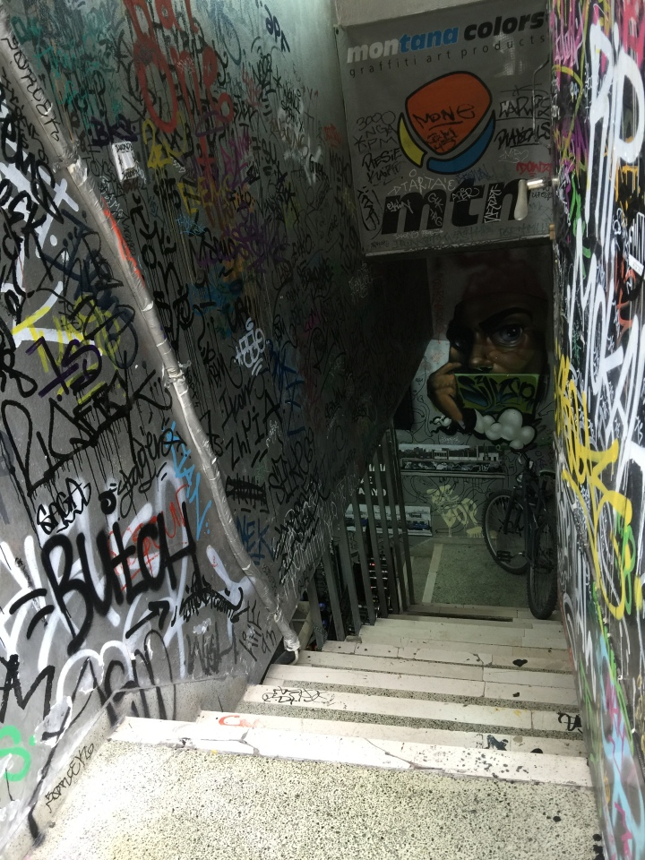 Stairs down to the shop