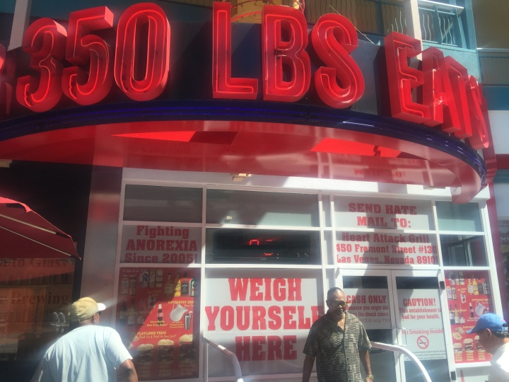 Home to the famous heart attack grill ('fighting anorexia since 2005').  You can weigh yourself on the way in (if you're brave enough to have your weight lit up on a neon sign for all to see)