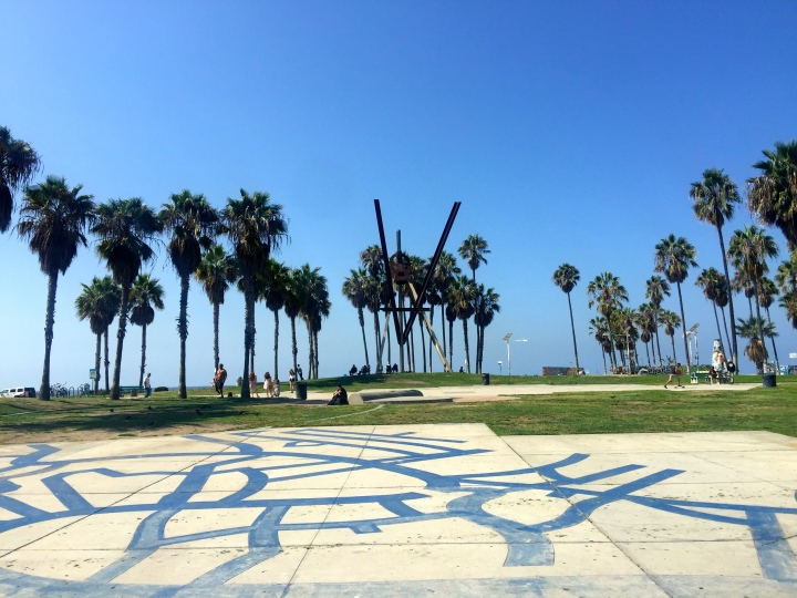 Venice beach; it took an hour and a half on two buses.  Not so bad; I was in no hurry.  And it was worth the effort.