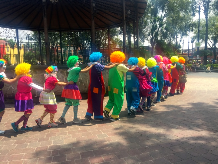 A taster of what's to come: relaxing in a park in Mexico City and suddenly a conga line of clowns go by...
