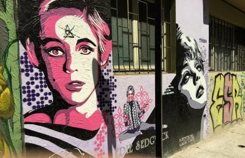 Not sure what Edie Sedgwick is doing here, but I really like this wall